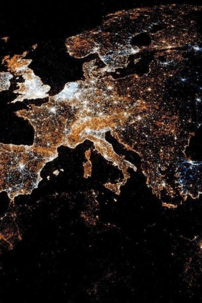 Stunning View of Europe At Night